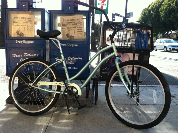 Delivery Beach Cruiser Bike with Custom Laid Back Seat Post, built for film production